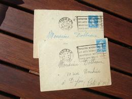 Lot 2 Paris Depart Flamme Flier Exposition Internationale Arts Decoratifs - Postmark Collection (Covers)