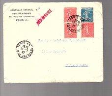 Consulat Général Embassy Pays-Bas Holland Paris 1927 To Spoendonck + Letter (187) - Frankrijk