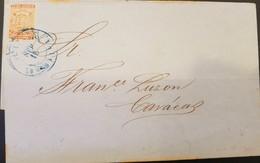 O) 1862 VENEZUELA, COAT OF ARMS SCT 1 1/2r Orange, FROM LA GUAIRA TO CARACAS, CIRCULAR DATE IN BLUE, XF - Venezuela