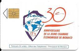 CARTE-PUCE-MONACO-MF28-50 U-GEMA-05/93-30 ANS CHAMBRE COMMERCE-V°N° Série B3411731 B--TBE - Monaco