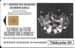 CARTE-PUBLIC-MONACO-50U-MF34-GEM A-03/95-COMITE OLYMPIQUE-R° Glacé-V°Grands N°/Série N°8002-UTILISE-TBE - Monaco