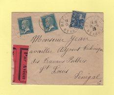 Destination Saint Louis Senegal - Beziers Herault - 16-5-1929 - Par Avion - Postmark Collection (Covers)