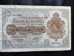 Falkland Islands 50 Pence 1974.  10A Rare Banknote - Falkland