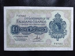Falkland Islands 1 Pound 1982.  8D Rare Banknote - Islas Malvinas