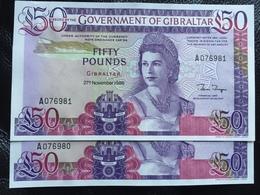 Gibraltar 50 Pounds 1982 UNC. 24 Rare Banknote - Gibraltar