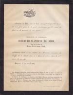 TILFF MONCEAU ESNEUX Hubert-Louis De BEHR Veuf PIRARD  Château Du Monceau 74 Ans 1864 - Todesanzeige