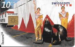 CARTE-PUCE-SUISSE-10CHF-Gem2-Se54-04/99-CIRQUE Les OTARIES-TBE - Schweiz