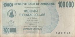 Zimbabwe / 100 000 Dollars / 2007 / P-48(b) / VF - Zimbabwe