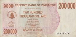 Zimbabwe / 200 000 Dollars / 2008 / P-49(a) / VF - Zimbabwe