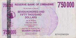 Zimbabwe / 750 000 Dollars / 2008 / P-52(a) / XF - Zimbabwe