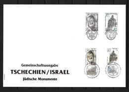 RARE 1997 Joint Czech Republic And Israel, MIXED FDC 2+2 STAMPS: Jewish Monuments 250 COPIES - Gezamelijke Uitgaven
