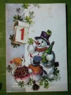 Kov 8-140 - New Year, Bonne Annee, Snowman, Bonhomme De Neige, CHAMPAGNE, Chimney Sweep, Ramoneur - Anno Nuovo