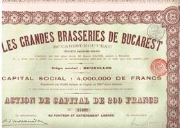 Titre Ancien - Les Grandes Brasseries De Bucarest - Bucarest-Nouveau - Titre De 1910 - Industrie