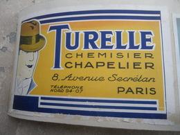 Publicités Chapeau TURELLE Chapelier 8 Avenue Secretan Paris - CAPES CONTY - Textile & Vestimentaire