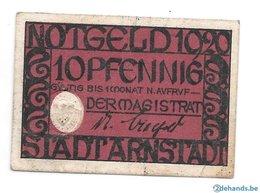 **notgeld Arnstadt 10 Pfennig  A24.3 - [11] Emissions Locales
