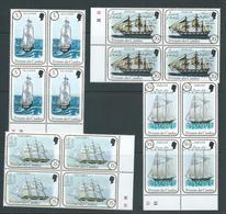 Tristan Da Cunha 1983 Sailing Ships II Set 4 Blocks Of 4 With Plate Numbers MNH - Tristan Da Cunha