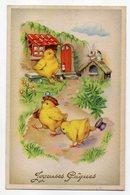 Joyeuses Pâques  -- Illustrateur  ???  --Poussins ,fleurs ,chapeaux Et Lapin....... à Saisir - Pâques