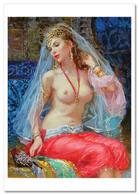 SEXY LADY Woman Belly Dance Erotica FINE ART By Razumov Rusian New Postcard - Nudi Artistici (1960-…)