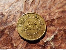 JETON MONNAIE NECESSITE 1890 PONT SAINT ESPRIT GARD 10 SOUS TOURNIAIRE DEVILLE BAZAR LOUIS - Monétaires / De Nécessité