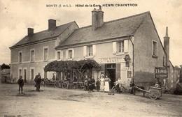 Monts  37  L'Hotel De La Gare-Café-Restaurant ( Henri-Chaintron ) Tres Tres Animé Et Petit Attelage D'Ane Avec Charette - Autres Communes