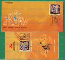 INDIA 2019 Inde Indien - FINANCIAL INCLUSION 1v FDC + Brochure MNH ** - Indian Currency Sign, Painting, Horse - As Scan - FDC