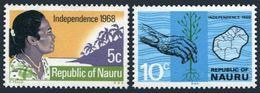 Nauru 86-87,MNH.Michel 83-84. Independence Of Nauru,1968.Map. - Celebrations