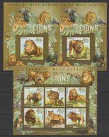 Sierra Leone 2015. [srl15013] Fauna Of West Africa, Lions (s\s+2 Blocks) - Raubkatzen