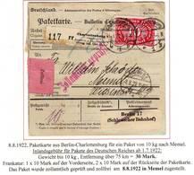 Bulletin De Colis Postal Pour MEMEL Periode Francaise 1922 , Deux Etiquettes Plus Cachet De Douane - 1849-1876: Klassik