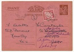 Carte Interzones Depuis Neuilly, Taxée 30c N°33 Pour Poste Restante - Cartes Postales Types Et TSC (avant 1995)