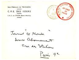 ALGERIE ENV 1957 CHABET EL AMEUR RECETTE DISTRIBUTION FM SECTION ADMINISTRATIVE SPECIALISEE D'ENZA  LETTRE AVION - Algérie (1924-1962)