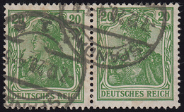 143b Germania 20 Pf: Paar: Druckbilder In Höhe Versetzt, Gestempelt, Infla-gepr. - Abarten