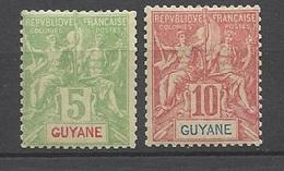 Guyane   N° 43  Et  44  Neufs   *       B/TB ....... Soldé à Moins De  20 % ! ! ! - Unused Stamps