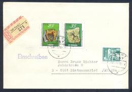 Germany DDR 1972 Registered Cover: Minerals Mineralien Mineraux; Fossils Fossilien; Dresden Museum; Geology; Frog Frosch - Mineralien