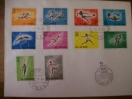 SAINT MARIN N Yvert 605 A 614 Serie Olympic  Sur Enveloppe 1 Er Jour Annee 1963 - Saint-Marin