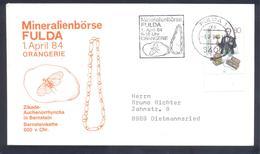 Germany 1984 Cover:  Minerals Mineralien Mineraux; Mines Bergbau; Fossils Fossilien; Zikade Auchenorrhyncha; Fulda LABEL - Mineralien