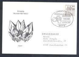 Germany 1981 Card:  Minerals Mineralien Mineraux; Mines Bergbau; Kristall Wunder Der Natur ; Dreieich Cancellation - Mineralien