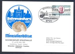 Germany 1982 Cover:  Minerals Mineralien Mineraux; Mines Bergbau; Fossils Fossilien; Mineralien Börse Schweinfurt - Mineralien