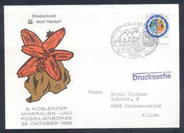 Germany 1982 Cover:  Minerals Mineralien Mineraux;; Fossils Fossilien; Mineralien Börse Koblenz; Rhodochrosit; Brenkit E - Mineralien