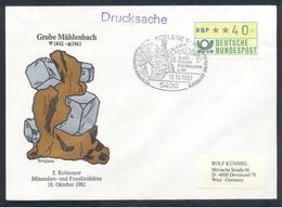 Germany 1981 Cover:  Minerals Mineralien Mineraux;; Fossils Fossilien; Börse Koblenz; Bleiglanz - Grube Mühlenbach - Minerals