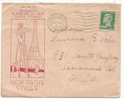 PASTEUR 30C LETTRE MEC FLIER PARIS 118 BIS 17.X.1931 POUR USA - Postmark Collection (Covers)