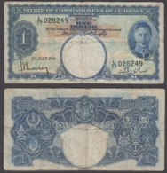 Malaya 1 Dollar 1941 (VG-F) Condition Banknote KGVI KM #11 Board Of Commission?e - Banknotes