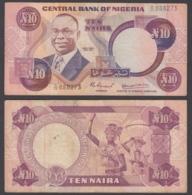 Nigeria 10 Naira 1979 (VF) Condition Banknote KM #21a - Nigeria