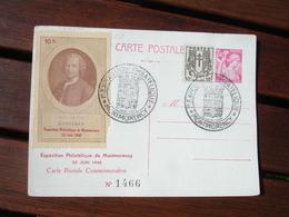 Montmorency Erinnophilie Roousseau Exposition Philatelique 1946 Obliteration Carte - Marcophilie (Lettres)