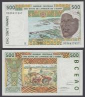 West African States 500 Francs 1993 (AU-UNC) CRISP Banknote P-710Kc - Estados De Africa Occidental