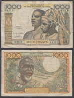 West African States 1000 Francs ND 1961 (F) Condition Banknote KM #203Bg - West African States