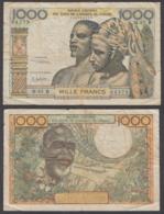 West African States 1000 Francs ND 1961 (F) Condition Banknote KM #203Bg - Estados De Africa Occidental