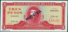 """CUBA - 3 Pesos 1983 {SPECIMEN} {MUESTRA} {""""Che"""" Guevara} UNC P.107 S - Cuba"""