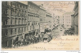 """LINZ: GRUSS  AUS ..-  LANDSTRASSE  MIT  HOTEL  ZUR  """"GOLDENEN  KANONE""""  -  FALTE  -  NACH  DEUTSCHLAND  -  KLEINFORMAT - Gruss Aus.../ Grüsse Aus..."""