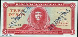 """CUBA - 3 Pesos 1985 {SPECIMEN} {MUESTRA} {""""Che"""" Guevara} UNC P.107 S - Cuba"""