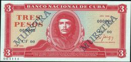 """CUBA - 3 Pesos 1986 {SPECIMEN} {MUESTRA} {""""Che"""" Guevara} UNC P.107 S - Cuba"""